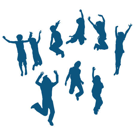 silhouettes of children: 9 happy kids silhouettes jumping
