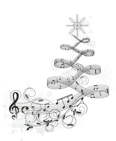 treble clef: Musical Christmas banner
