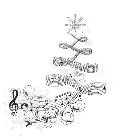 Muzikale Kerst banner Stock Illustratie