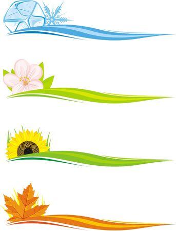 four seasons: Four seasons banners set Illustration