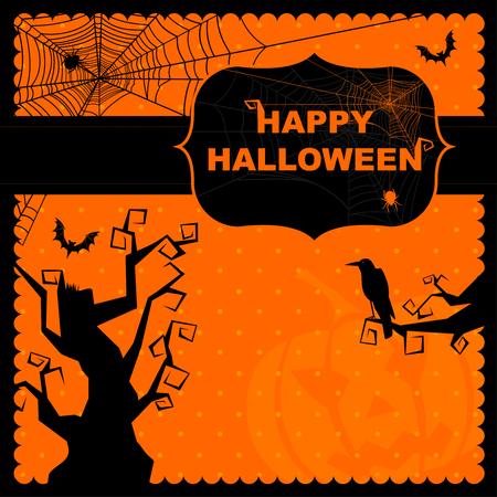 spider web background: Happy Halloween greeting card