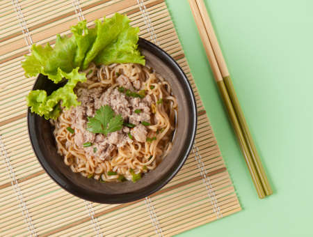 buckwheat noodle: Homemade Quick ra-men Noodles with Pork and vegetables Stock Photo