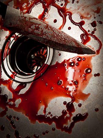 ハロウィーンや犯罪の台所の流しに血まみれのナイフ 写真素材