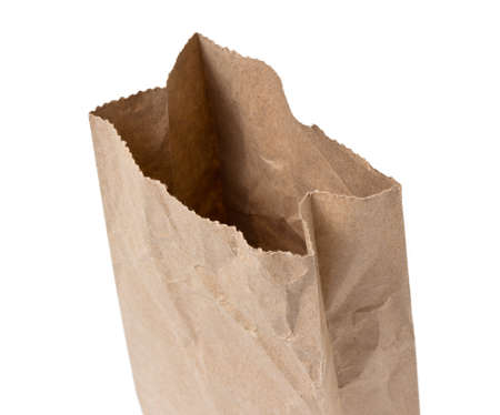 opened bag: Brown Paper Bag Opened and Isolated on a White Background Stock Photo