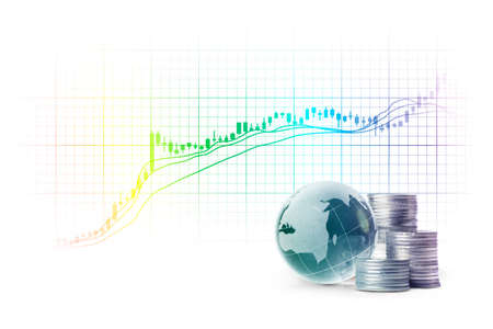 globe and silver coins and Stock Charts on white background