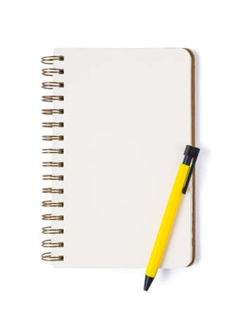Notebook with pen on white background isolated Top view. Free space for design