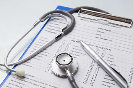 Stethoscope pen notes data on medical document