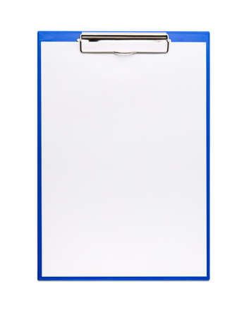 blue clipboard with a few sheets of paper. isolated 免版税图像