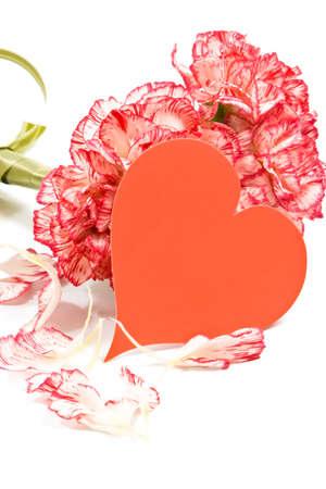 カーネーションの花束とバレンタイン カード 写真素材
