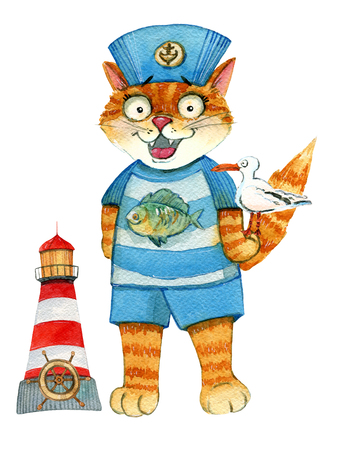Watercolor illustration of a sailor cat in a uniform with afish on the t-shirt and a seagull on his paw. A lighthouse with a steering wheel in the background