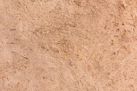 Full frame close-up of a adobe mud wall in New Mexico. The texture and straws are visible.