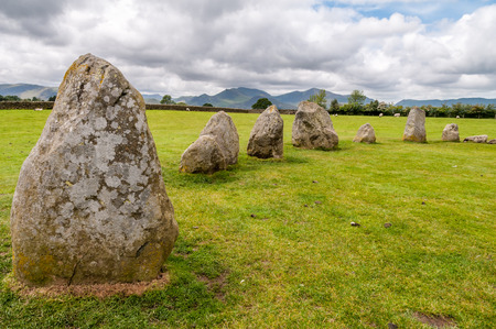 The Castlerigg Stone Circle near Keswick in the English Lake District, Cumbria, England. It is a partly clouded day during spring.
