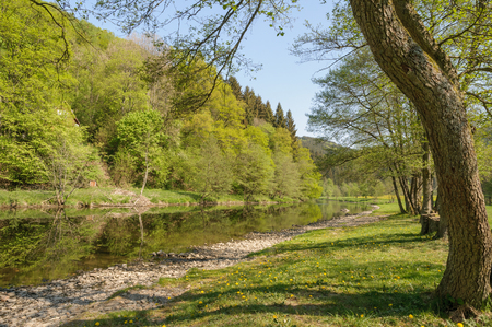 The river Ourthe near Maboge, La Roche-en-Ardenne in Belgium on a beautiful day during early spring. The riverbank with a small beach is a popular tourist destination.