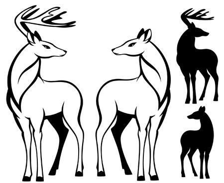geyik: pair of deers - vector illustration