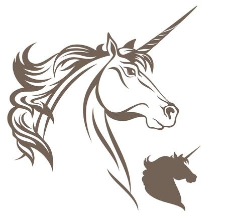 cabeza de caballo: ilustración vectorial de unicornio Vectores