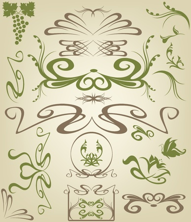art nouveau frame: Art Nouveau design elements