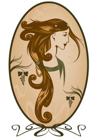 pelo ondulado: Retrato de mujer de estilo Art Nouveau