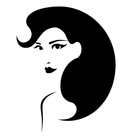beautiful brunette with perfect hairstyle Vector