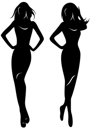 two vector silhouettes of beautiful women Vector