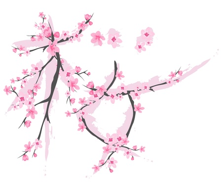 cherry blossom: Japanese hieroglyph meaning sakura made of blossoming branches