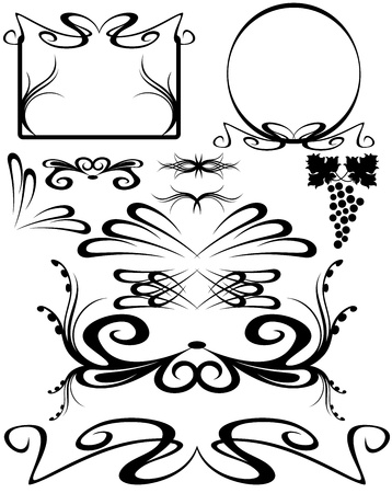 art nouveau frame: set of decorative elements Illustration