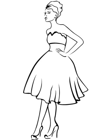 retro model: retro-styled fashion model - black and white outline Illustration