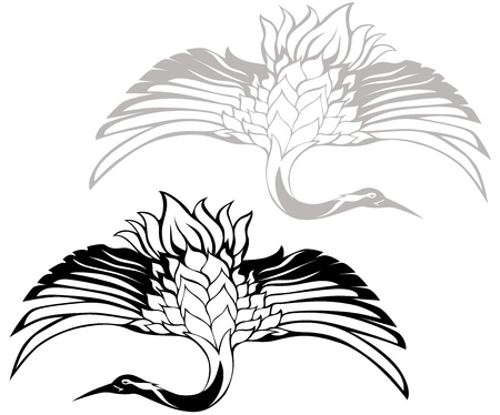 japanese style: japanese crane  illustration
