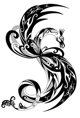 dragon tattoo: illustration de contour de dragon noir et blanc.  Illustration