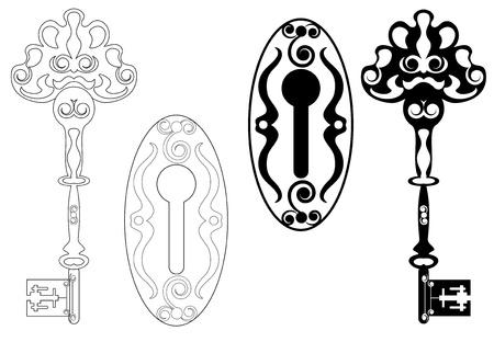 skeleton key and keyhole Vector