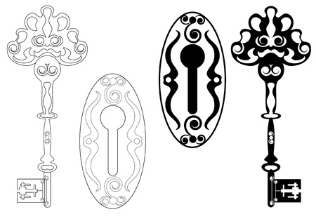 keyholes: skeleton key and keyhole Illustration