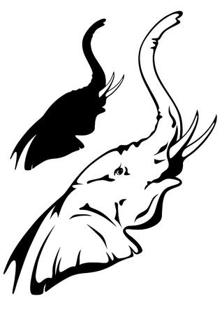 silhouettes elephants: elefante africano ilustraci�n vectorial