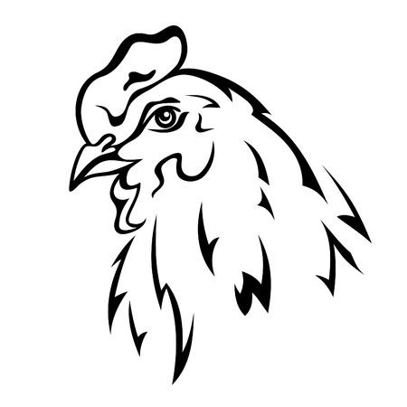 animal cock: cabeza de pollo vector ilustraci�n - contorno blanco y negro