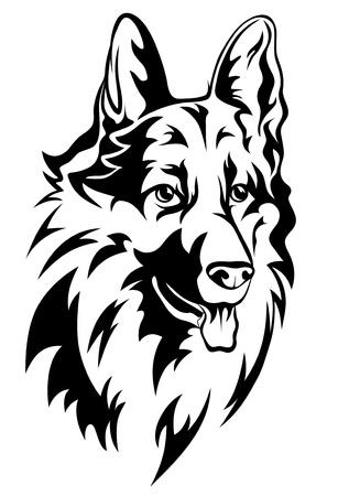 monochroom: hond hoofd vectorillustratie Stock Illustratie