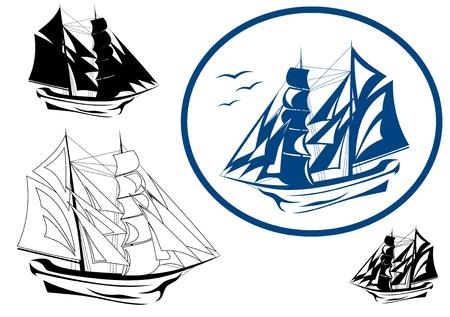 brigantine in full sail vector emblem Vector