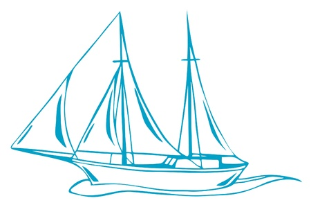 regatta: sea voyage vector illustration - outline of yacht
