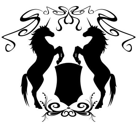 Dos unicornios sosteniendo un escudo - elementos de diseño heráldico Ilustración de vector