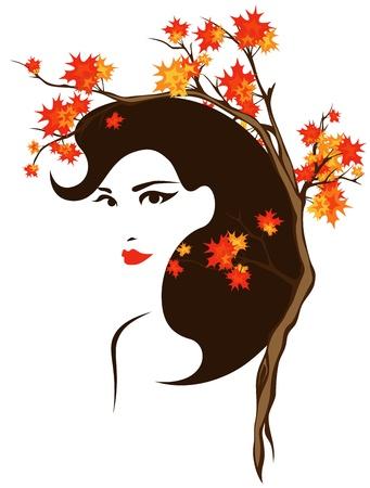 visage femme profil: vecteur de portrait automne - belle fille parmi les feuilles brillant