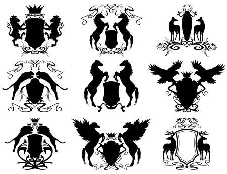 conjunto de vectores de escudos heráldicos con animales (todos los elementos son editables)