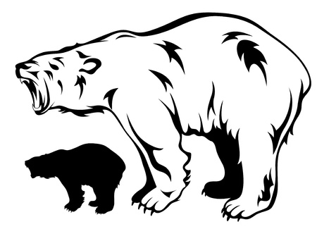 agression: ours polaire grogne illustration vectorielle