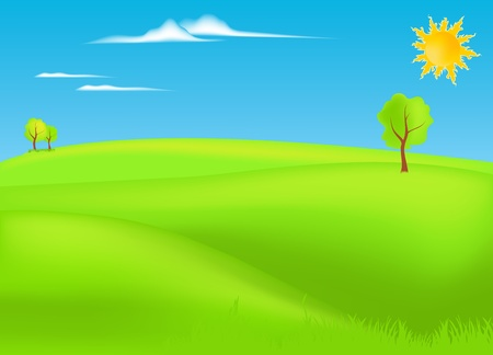 summer landscape vector illustration Stock Vector - 10628476