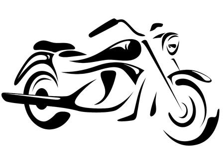 fondo blanco y negro: ilustración vectorial de moto