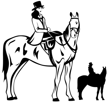 horseback: beautiful horsewoman vector illustration