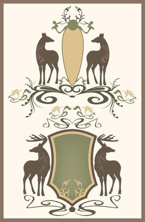 heraldic symbols: wildlife vintage style emblem - shields with pair of deer - editable vector illustration