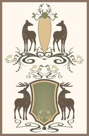 wildlife vintage style emblem - shields with pair of deer - editable vector illustration
