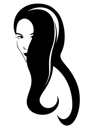 long hair brunette: beautiful hairstyle vector