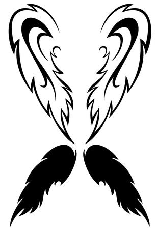 spread wings: pair of wings - black and white outline and silhouette Illustration