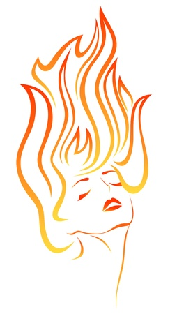 girl with flaming hair portrait Vector