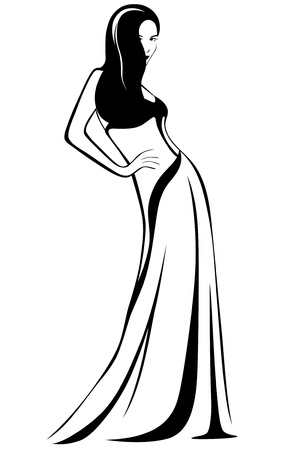 beautiful girl in a gown Vector