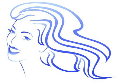 blue hair: beautiful girl with wind in her hair Illustration