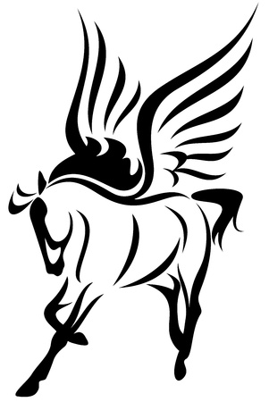 winged: pegasus vector illustration - symbol of inspiration